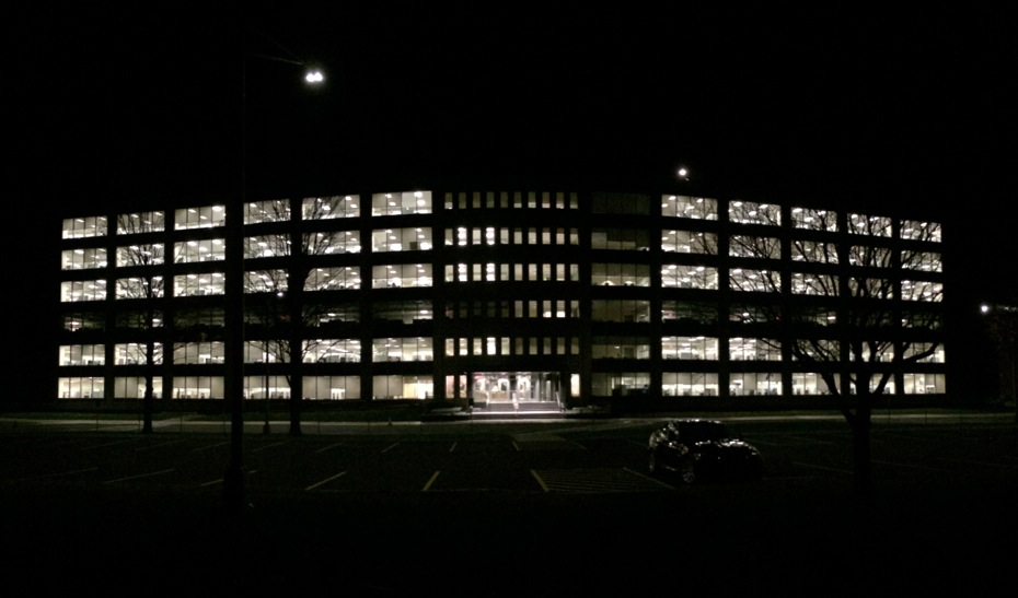 harriman state office campus building 5 at night front pano