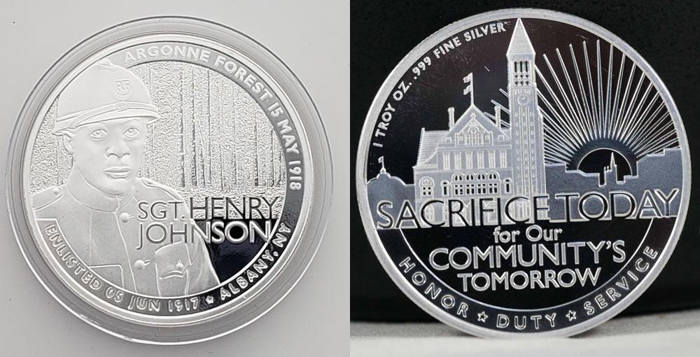 Henry Johnson medal obverse reverse Ferris Coin