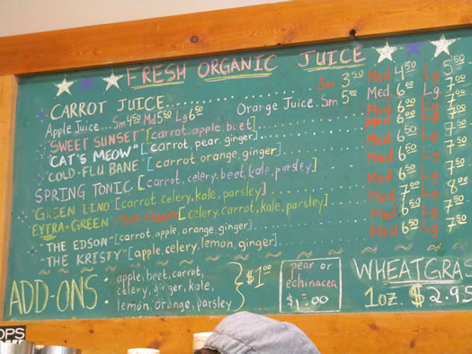 juice bars honest weight menu Central Ave location