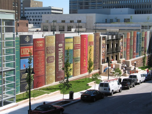 kansas city public library community bookshelf parking garage