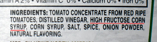 ketchup ingredients hfcs highlighted