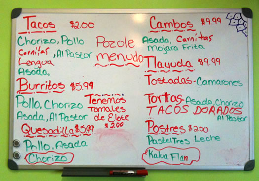 la mexicana menu board