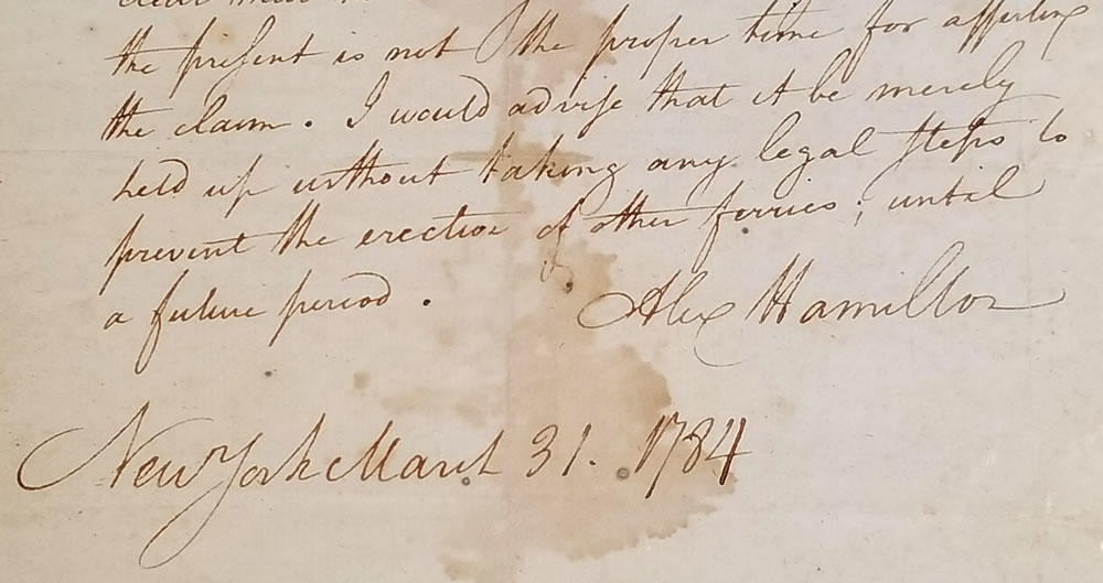 letter signed by Alexander Hamilton on display at Albany Law