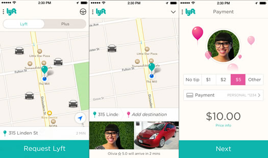 lyft app screenshots
