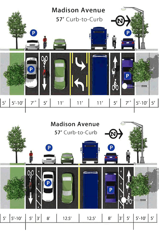 madison ave road diet bike lane option comparison