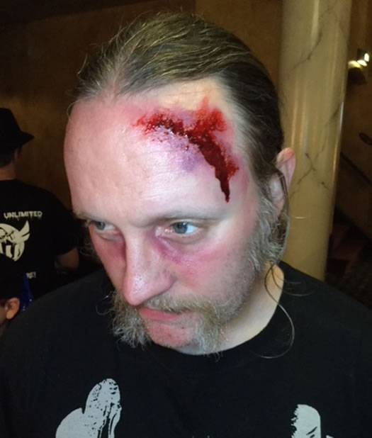 makeup curio bloody forehead wound