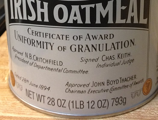 mccanns irish oats john boyd thacher closeup