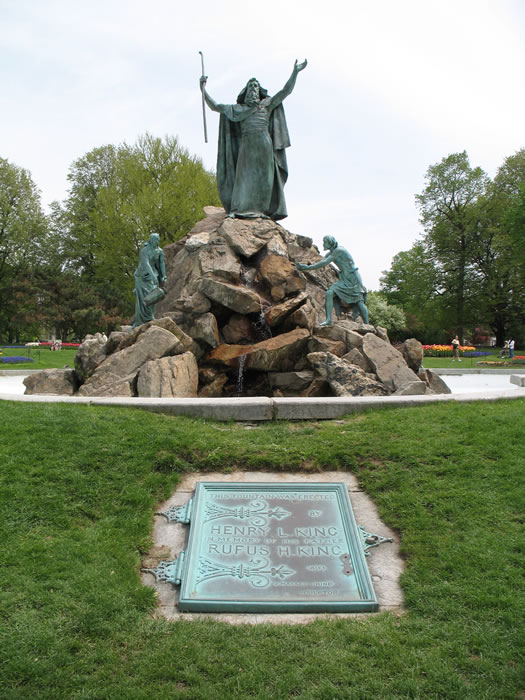 moses fountain with plaque