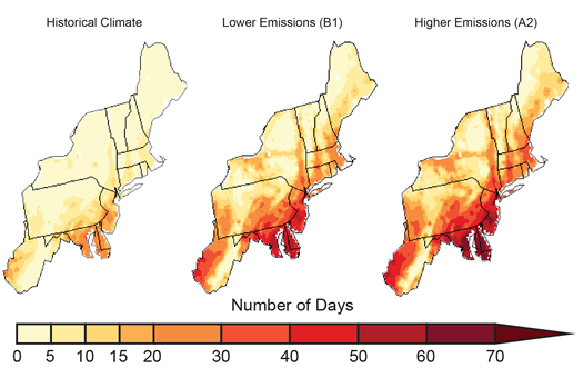 national climate assessment 2014 days over 90