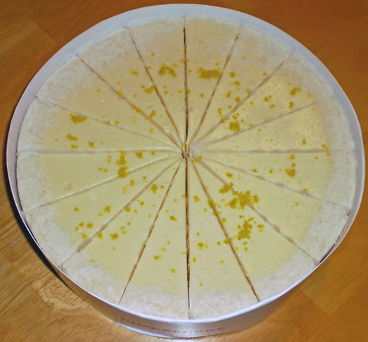 new skete cheesecake sections overhead