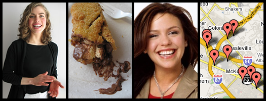 photo composite of Aja Style, deep-fried candy bar, Rachael Ray World Domination Watch, the AOA map