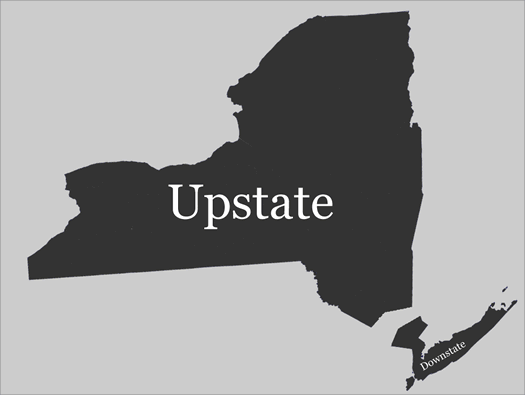 new york map broken into upstate and downstate