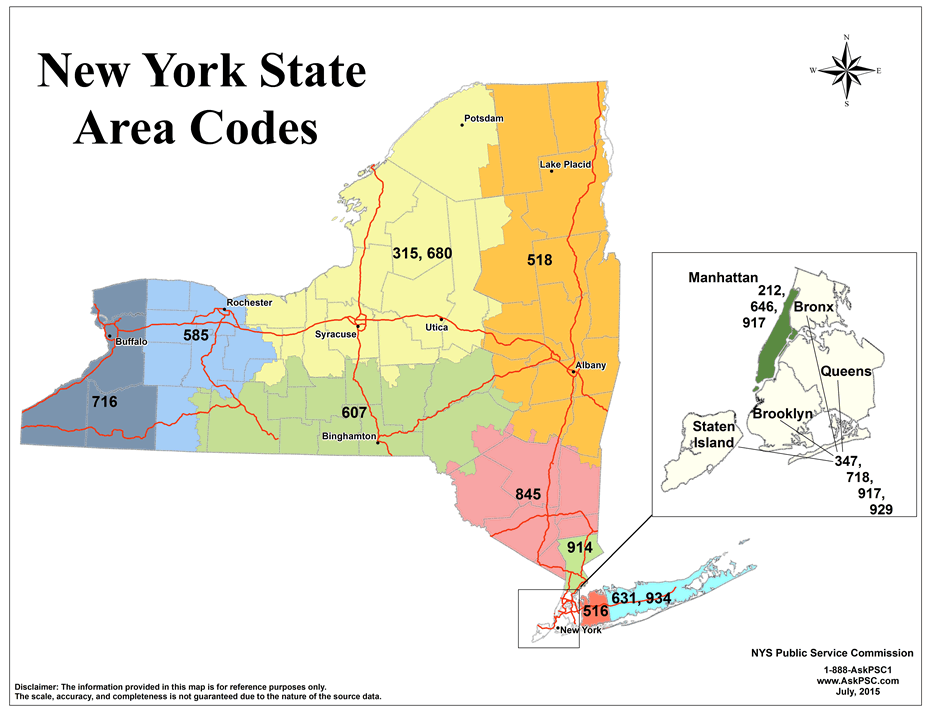 new york state area codes as of 2015-July