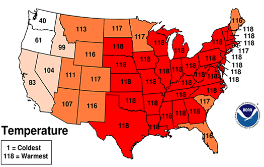 noaa warmest spring national map