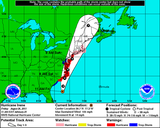 nws hurricane irene projection 2011-08-26 1245