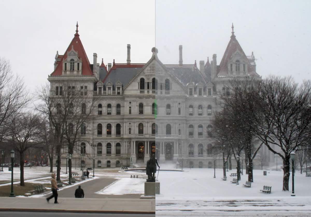 ny state capitol before after snow storm