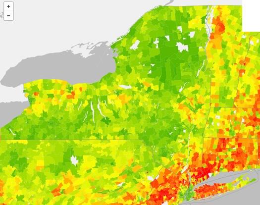 nys carbon footprint zip codes map