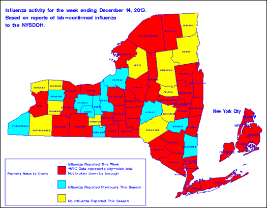 nys flu surveillance map week ending 2013-12-14