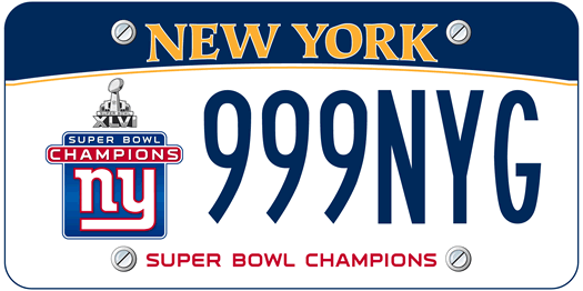 nys license plate Giants Super Bowl 2012