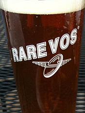 ommegang rare vos in glass closeup