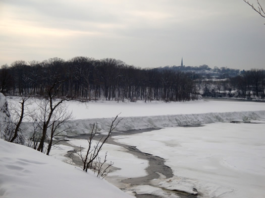 peebles island winter frozen spill