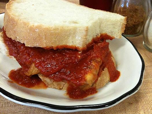 Peter Pause eggplant sandwich