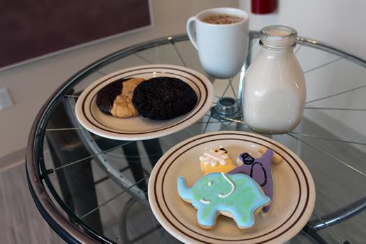 plum dandy cookies and milk three cookies