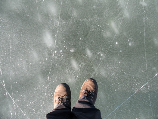 pond ice feet