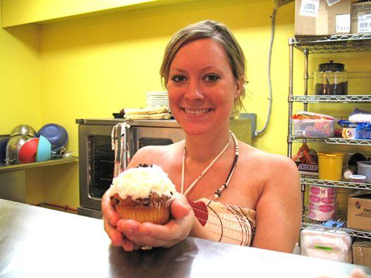 Rachel St Martin holding a cupcake