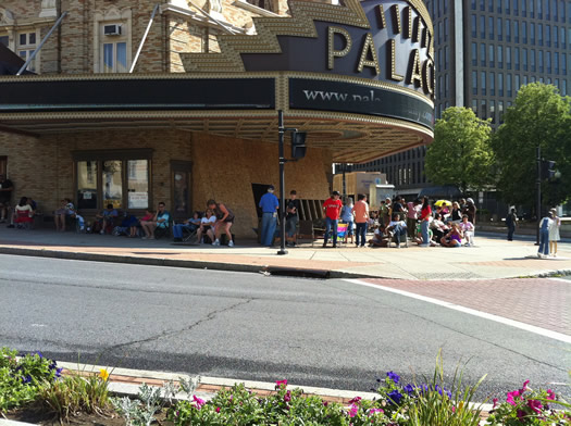 line for Salt premiere tickets at The Palace