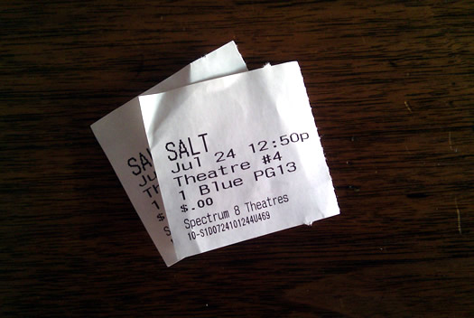 Salt movie stubs from the Spectrum