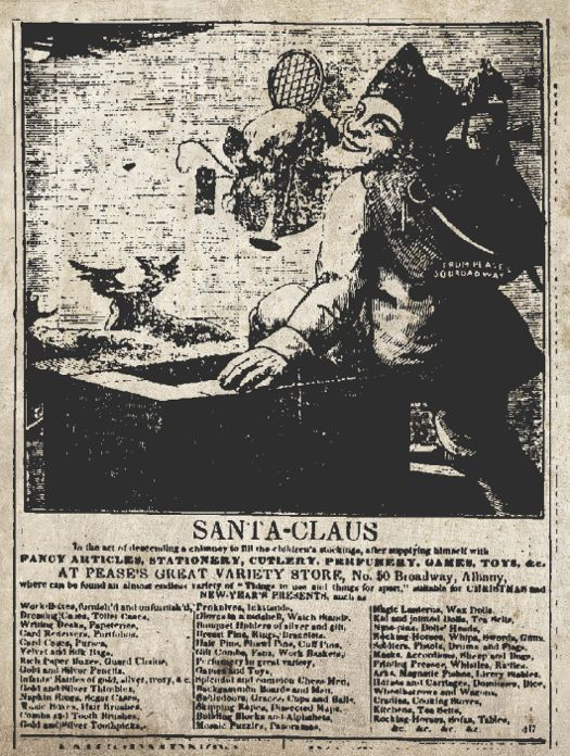 printed in albany the first christmas card and the first santa ad