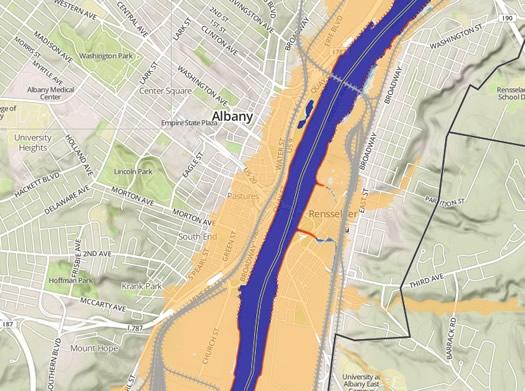scenic hudson sea level rise map Albany