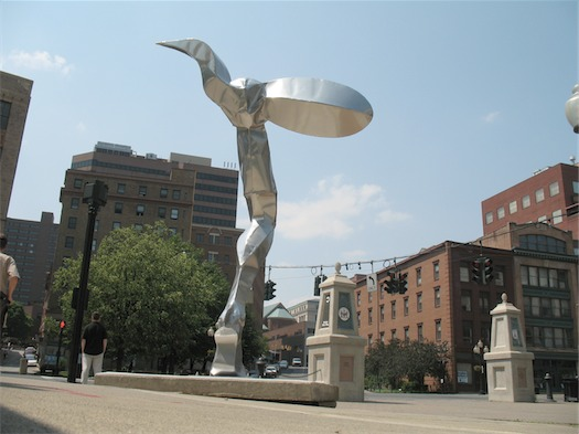 sculpture in the streets at Hudson River Way and Broadway
