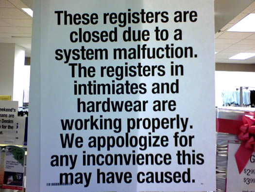 sign full of mistakes at Sears