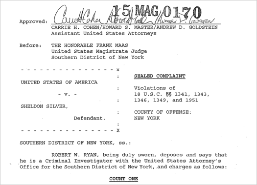 sheldon silver federal complaint screengrab