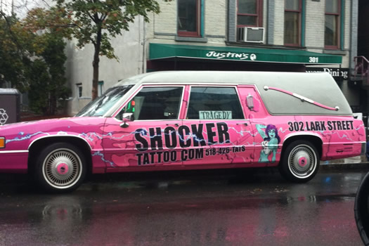 shocker tattoo pink hearse