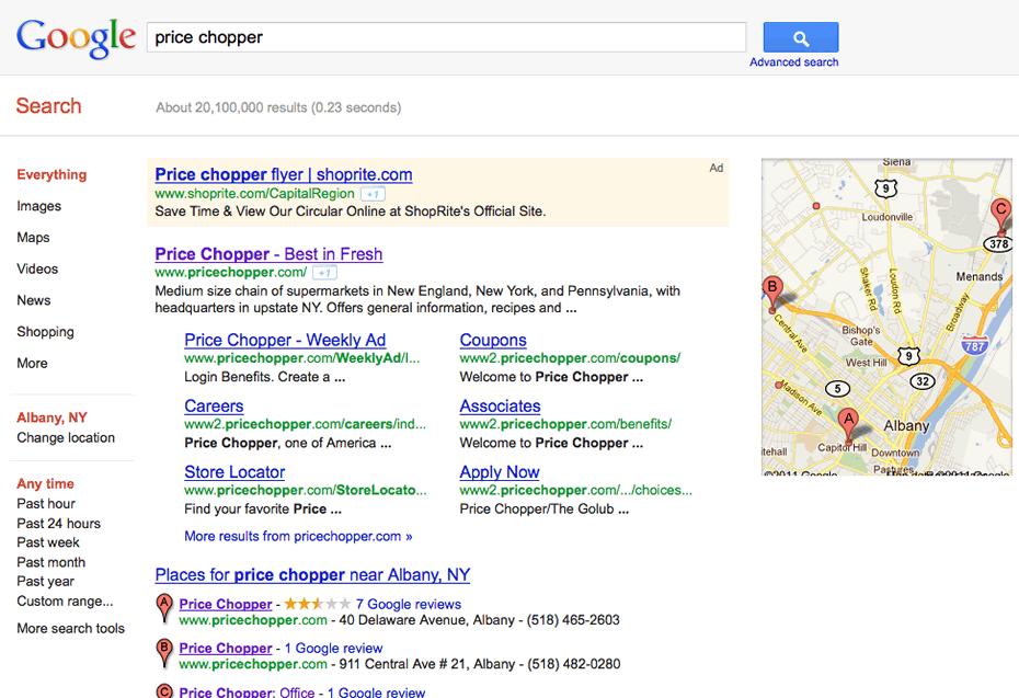 shoprite price chopper google ad screengrab