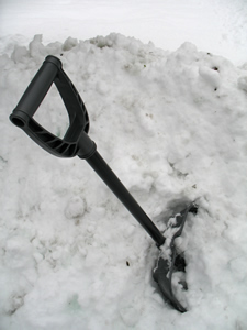 shovel in snowpile