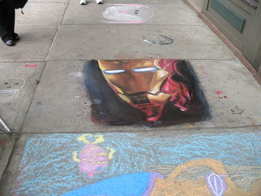 sidewalk art ironman