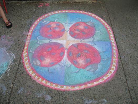 sidewalk art ladybugs