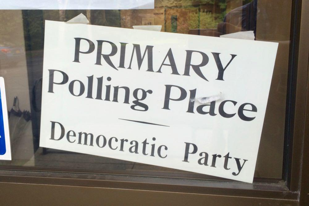 sign Democratic Party Primary polling place