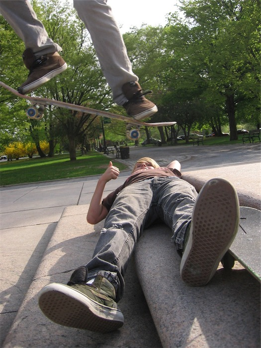 skateboard jumping in Washington Park