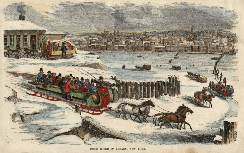 sleighs on froze hudson river 1850