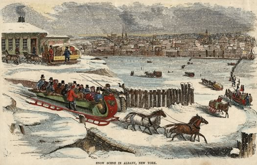 sleighs on frozen hudson river 1850 small