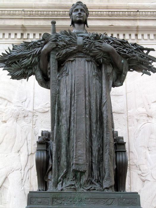 soldiers and sailors monument bronze figure