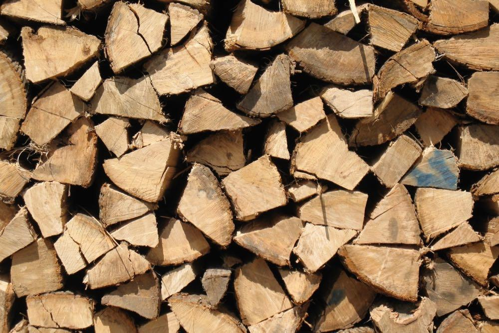 stacked firewood closeup