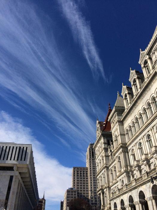 state street capitol blue sky wispy clouds
