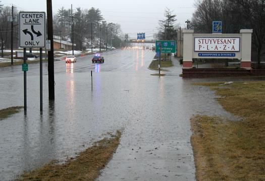 huge puddle on Western by Stuyvesant Plaza