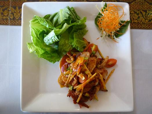 sweet basil duck salad overhead